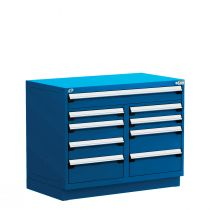 """Stationary Multi-Drawers Toolbox, 9 drawers, Painted Base (48""""W x 27""""D x 38""""H)"""