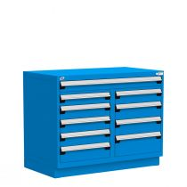 """Stationary Multi-Drawers Toolbox, 10 drawers, Painted Base (48""""W x 27""""D x 38""""H)"""