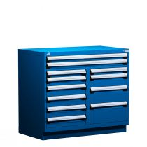 """Stationary Multi-Drawers Toolbox, 12 drawers, Painted Base (48""""W x 27""""D x 42""""H)"""
