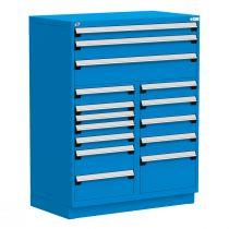 """Stationary Multi-Drawers Toolbox, 15 drawers, Painted Base (48""""W x 27""""D x 62""""H)"""