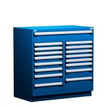 """Stationary Multi-Drawers Toolbox, 17 drawers, Painted Base (60""""W x 27""""D x 48""""H)"""