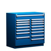 """Stationary Multi-Drawers Toolbox, 16 drawers, Painted Base (60""""W x 27""""D x 48""""H)"""