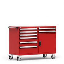 """Cabinet R mobile, double banque, compartimenté, 8 tiroirs (60""""L x 27""""P x 45 1/2""""H)"""
