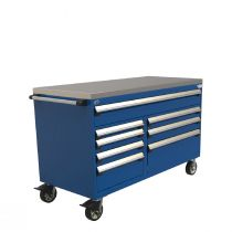 "R Mobile Cabinet, Double Bank with Partitions, 8  Drawers (60""W x 27""D x 39 1/4""H)"
