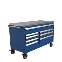 """Cabinet R mobile, double banque compartimenté, 8  tiroirs (60""""L x 27""""P x 39 1/4""""H)"""