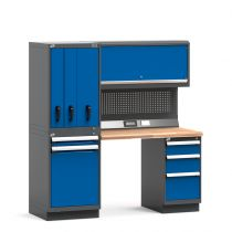"""Workstation with R2V vertical storage system, Laminated Wood Top (72""""W X 30""""D X 76""""H)"""
