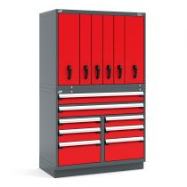 "R2V Vertical Storage System (two users), 14 Drawers (48""W X 27""D X 76""H)"