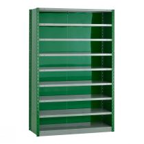 "Closed Shelving,  9 Shelves, perforated posts (48""W x 18""D x 75""H)"