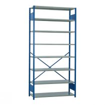 "Open Shelving, 9 Shelves, perforated posts (48""W x 24""D x 99""H)"