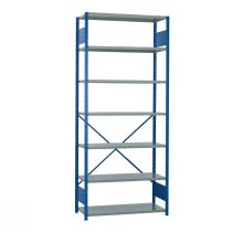"Open Shelving, 7 Shelves, perforated posts (42""W x 18""D x 99""H)"