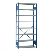 "Open Shelving, 9 Shelves, perforated posts (42""W x 24""D x 99""H)"