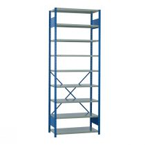 "Open Shelving, 9 Shelves, perforated posts (36""W x 18""D x 99""H)"