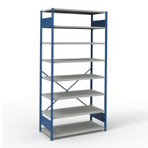 "Open Shelving, 8 Shelves, perforated posts (48""W x 24""D x 99""H)"