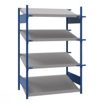 "Open shelving with 4 sloped shelves (FIFO), 48""W X 30""D X 75""H (Starter side-by-side unit)"