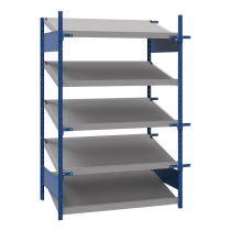"Open shelving with 5 sloped shelves (FIFO), 48""W X 36""D X 75""H (Starter side-by-side unit)"