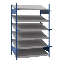 "Open shelving with 6 sloped shelves (FIFO), 48""W X 36""D X 75""H (Starter side-by-side unit)"