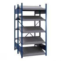 "B-to-back open shelving, sloped shelves, 10 shelves (36""Wx48""Dx75""H) (standalone/series possible)"