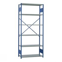 "Open Shelving, 6 Shelves, perforated posts (42""W x 18""D x 99""H)"