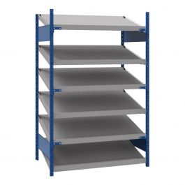 """Open shelving with 6 sloped shelves (FIFO), 48""""W X 30""""D X 75""""H (Standalone unit)"""