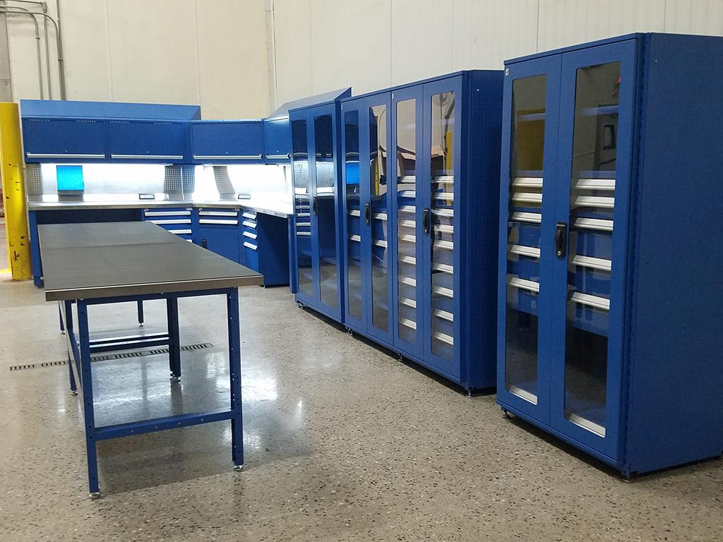 étagère et table de travail bleu