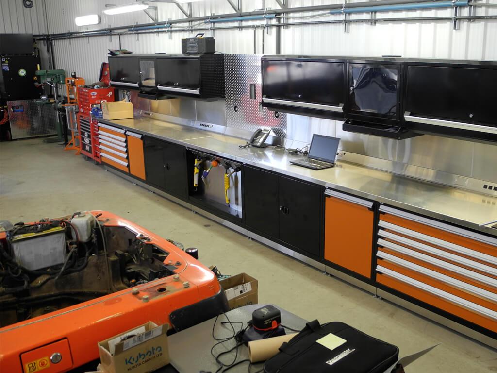 Centre de travail orange noir